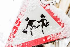 Traffic sign after a snowstorm Royalty Free Stock Images
