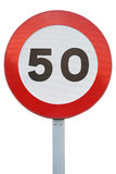 Traffic sign speed limit 50 isolated on a white background Royalty Free Stock Image