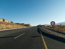 Traffic Sign Speed limit 70, warning to speed. stock photography