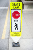 Traffic Sign with State Law For Pedestrians Royalty Free Stock Image