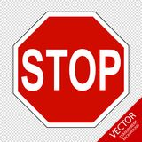 Traffic Sign Stop - Vector Illustration - Isolated On Transparent Background Royalty Free Stock Images