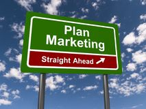 Plan marketing straight ahead. A traffic sign with the text 'plan marketing straight ahead Royalty Free Stock Images
