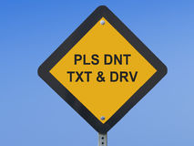 Traffic Sign Texting. Funny traffic sign warning against texting while driving Royalty Free Stock Photos