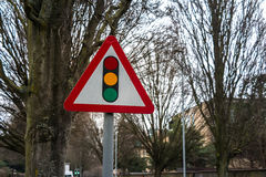 Traffic Sign: Traffic Light. On Wood background Royalty Free Stock Photos
