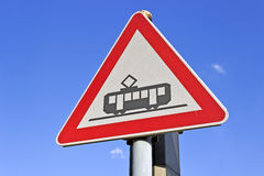 Traffic sign for tram on the road Royalty Free Stock Photos