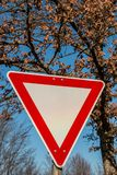 Traffic sign in the forest. Traffic sign on a tree in the forest Stock Image