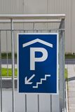 Traffic sign: underground parking Royalty Free Stock Photography