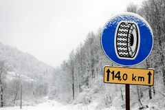 Traffic sign. For use of winter chains Stock Photos