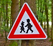 Traffic sign watch children Royalty Free Stock Image
