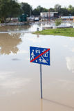 Traffic sign in water Stock Photo
