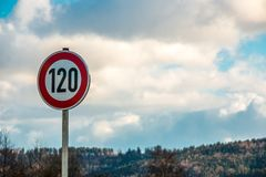 Traffic sign which means 120 kilometers per hour Royalty Free Stock Photo