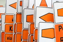 Traffic sign_white and orange Royalty Free Stock Photography