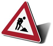 Traffic sign work in progress. 3d illustration Royalty Free Stock Image