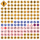 Traffic sign yellow red blue road sign set   Illustration Royalty Free Stock Photography