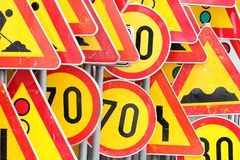 Traffic sign_yellow and red Royalty Free Stock Images