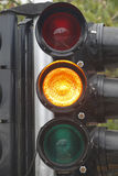 Traffic signal. With yellow light Royalty Free Stock Photography