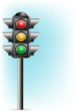 Traffic Signal. Illustration of traffic signal on pole on abstract background Stock Photography