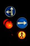 Traffic Signal. At night Royalty Free Stock Photo