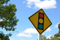 Traffic signal in blue sky Royalty Free Stock Photography