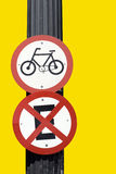 Traffic signal board bicycles Stock Photo