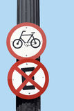 Traffic signal board bicycles Royalty Free Stock Image