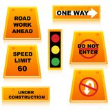 Traffic signal with boards Royalty Free Stock Photos