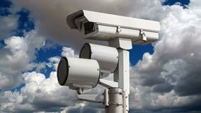 Traffic Signal Camera Time Lapse. Traffic signal security camera with time lapse clouds stock video