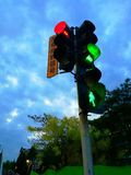 traffic lights at night in china stock image