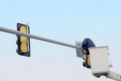 Traffic Signal Repair. Road construction and upkeep, one of the jobs is keeping the traffic signals in good working order royalty free stock photo