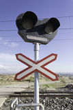 Traffic signal in route of train. With semaphores, road precaution Royalty Free Stock Images