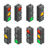 Traffic signal. Traffic light, traffic light sequence. Flat 3d vector isometric illustration. Royalty Free Stock Photos