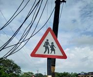 Traffic signal. & x28;zebra crossing& x29; in the village of Kerala nirchal Royalty Free Stock Images