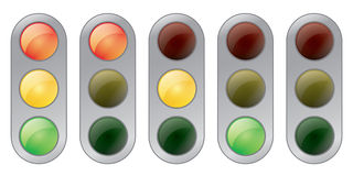 Traffic signals. Vector illustration of a traffic signal, in five states: all on, red on, yellow on, green on and all off Stock Photo
