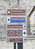 Traffic signpost in istanbul Royalty Free Stock Image