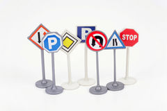 Traffic signs. Seven traffic signs on a white background Stock Images
