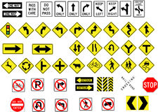 Traffic signs. Directional and interdiction road signs Stock Image
