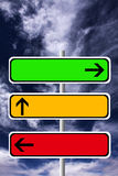 Traffic signs. In the colors of traffic lights (copy space provided inside the signs Stock Illustration