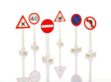 Traffic signs. Collection of traffic signs, isolated on white background with shallow DoF Stock Photography