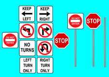 Traffic signs. Illustration of traffic symbols. Turning signs Royalty Free Stock Photography