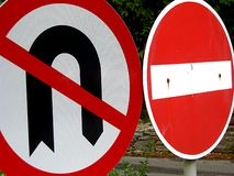 Traffic Signs. No U turns and no entry stock photography