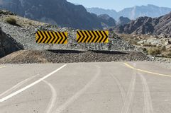 Traffic signs. Leading offroad in Jabal Shams Royalty Free Stock Images