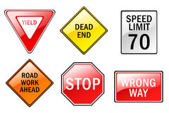 Traffic Signs. A set of six traffic sign illustrations on a white background Royalty Free Stock Photos