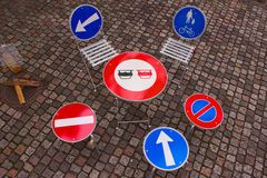 Traffic signs as table and chairs. Royalty Free Stock Photos