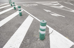 Traffic signs on asphalt Royalty Free Stock Photo
