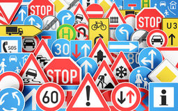 Traffic signs. Background with many traffic signs 3D rendering Vector Illustration
