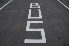 Traffic signs - Bus lane and parking - road marking Stock Images