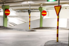 Traffic signs in car park Royalty Free Stock Photography