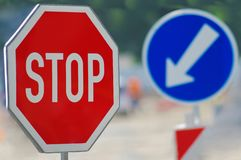 Traffic signs. Close up of signs on the road Stock Images