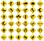 Traffic signs colection Stock Photos