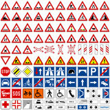 Traffic Signs Collection [1]. Set of 112 traffic signs including danger, temporary, precedence, drive functional signs and additional panels, isolated on white